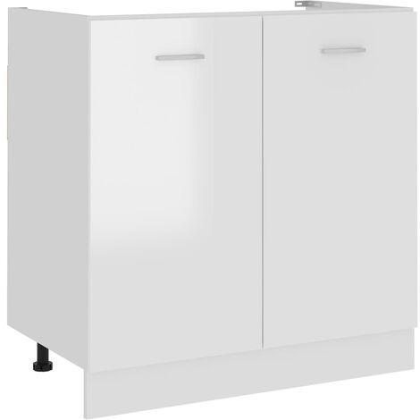 "main image of ""vidaXL Sink Bottom Cabinet High Gloss White 80x46x81.5 cm Chipboard - White"""