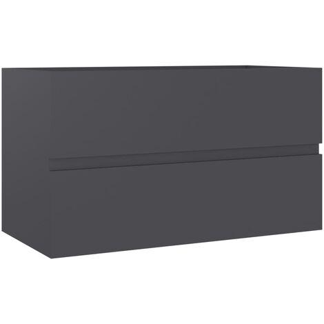 vidaXL Sink Cabinet Grey 80x38.5x45 cm Chipboard - Grey