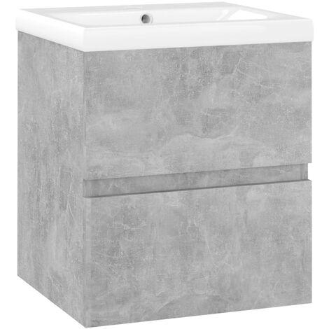 "main image of ""vidaXL Sink Cabinet with Built-in Basin Concrete Grey Chipboard - Grey"""