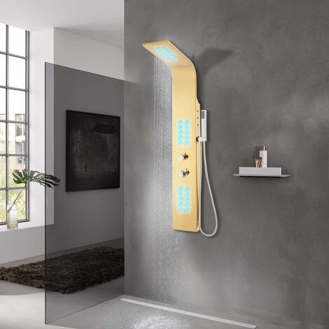 vidaXL Sistema de panel de ducha acero inoxidable 201 dorado curvado