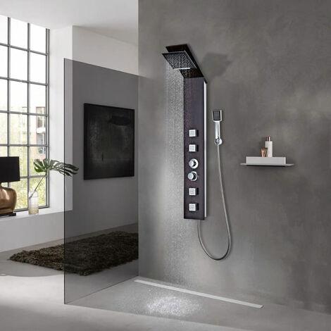 vidaXL Sistema de panel de ducha vidrio marron