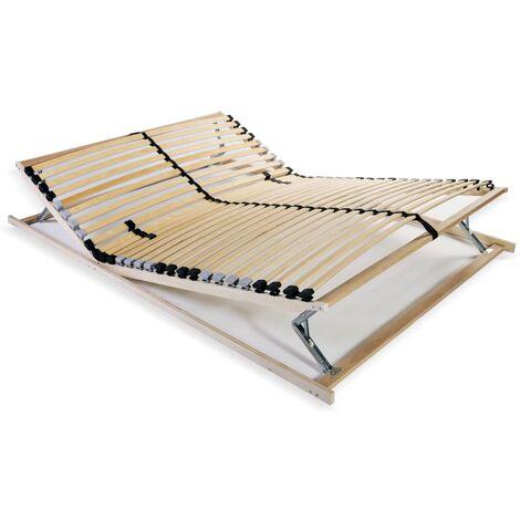 vidaXL Slatted Bed Base Wooden Slatted Mattress Bedframe Home Bedroom Furniture Solid Beechwood Frame with 28 Slats 7 Zones Multi Size