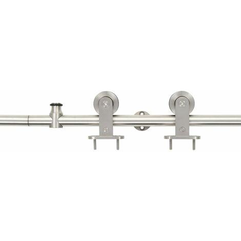 "main image of ""vidaXL Sliding Door Hardware Kit 183 cm Stainless Steel Silver - Silver"""