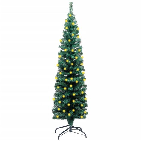 """main image of """"vidaXL Slim Artificial Christmas Tree with LEDs&Stand Green 150cm PVC"""""""