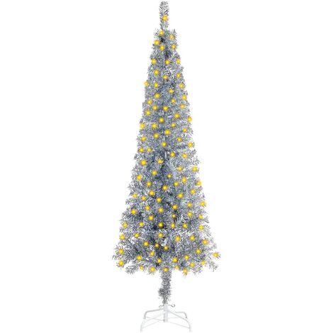 "main image of ""vidaXL Slim Christmas Tree with LEDs Silver 150 cm"""