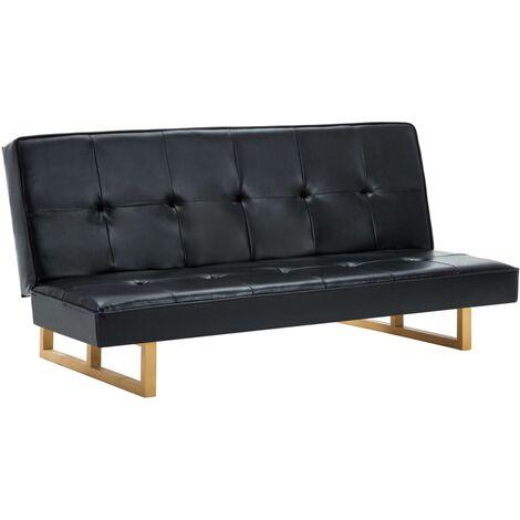 vidaXL Sofá Cama Abatible Plegable Futón Convertible Mueble Estable Cómodo Acolchado Sala de Estar Asiento Tumbona de Cuero Sintético Multicolor