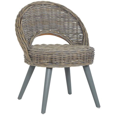 vidaXL Sofa Chair Kubu Rattan Black - Black