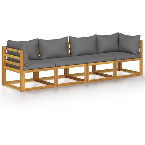 vidaXL Sofá de jardín de 4 plazas con cojín madera maciza de acacia - Gris