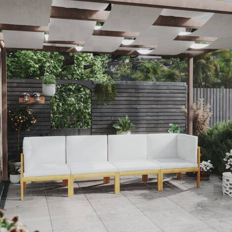 vidaXL Sofá de jardín de 4 plazas con cojín madera maciza de acacia - Marrón