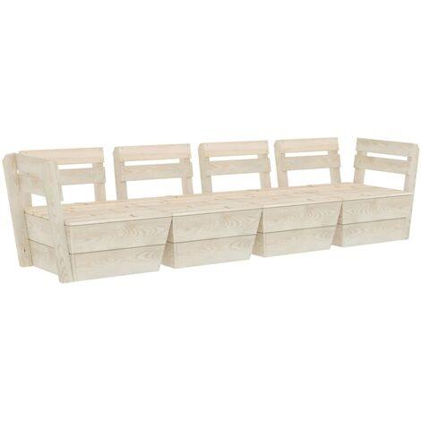 vidaXL Sofá de palés para jardín 4 plazas madera de abeto impregnada