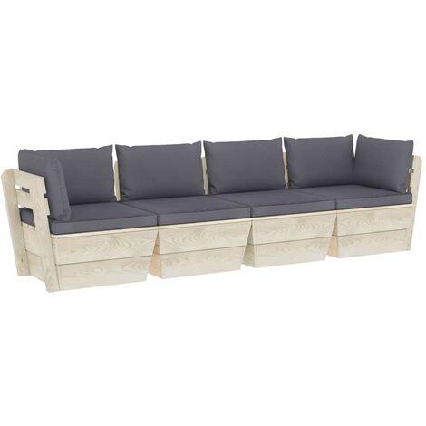 vidaXL Sofá de palets de jardín 4 plazas con cojines madera de abeto - Antracita