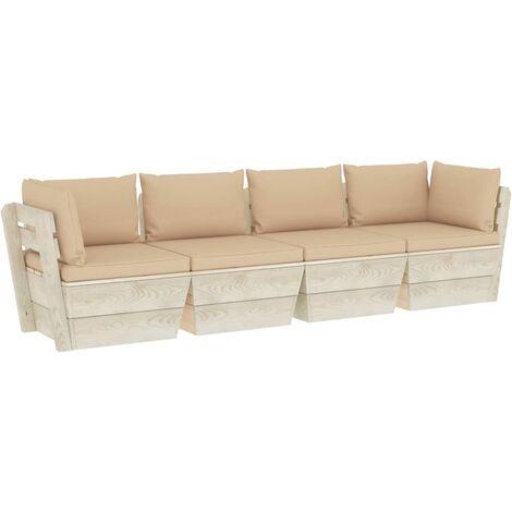 vidaXL Sofá de palets de jardín 4 plazas con cojines madera de abeto - Beige