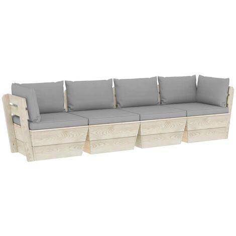 vidaXL Sofá de palets de jardín 4 plazas con cojines madera de abeto - Gris