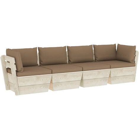 vidaXL Sofá de palets de jardín 4 plazas con cojines madera de abeto - Gris Topo