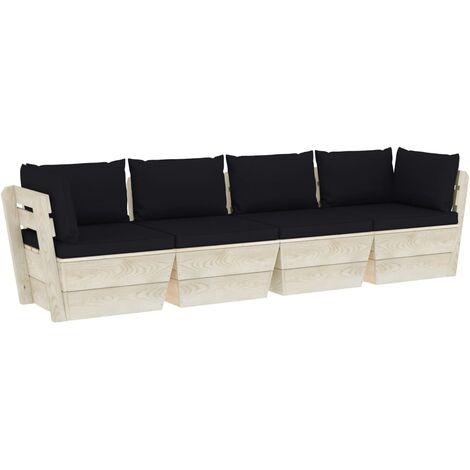 vidaXL Sofá de palets de jardín 4 plazas con cojines madera de abeto - Negro
