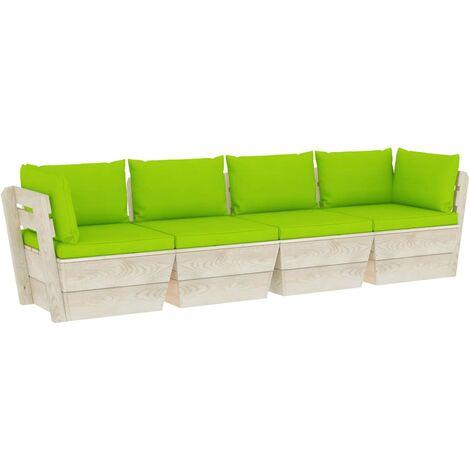 vidaXL Sofá de palets de jardín 4 plazas con cojines madera de abeto - Verde