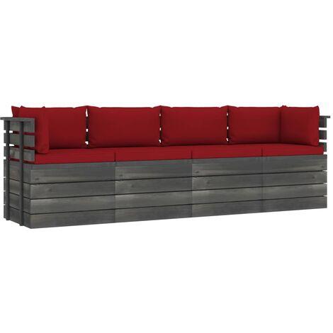 vidaXL Sofá de palets de jardín 4 plazas y cojines madera maciza pino - Rojo