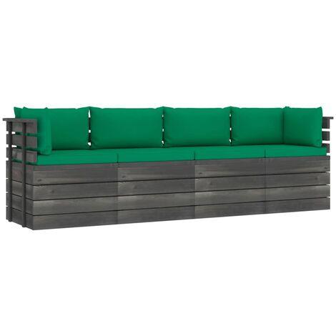 vidaXL Sofá de palets de jardín 4 plazas y cojines madera maciza pino - Verde
