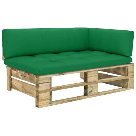 vidaXL Sofá esquina de palés para jardín madera pino impregnada verde - Verde