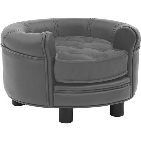 """main image of """"vidaXL Sofá para perros felpa y cuero sintético gris 48x48x32 cm - Gris"""""""