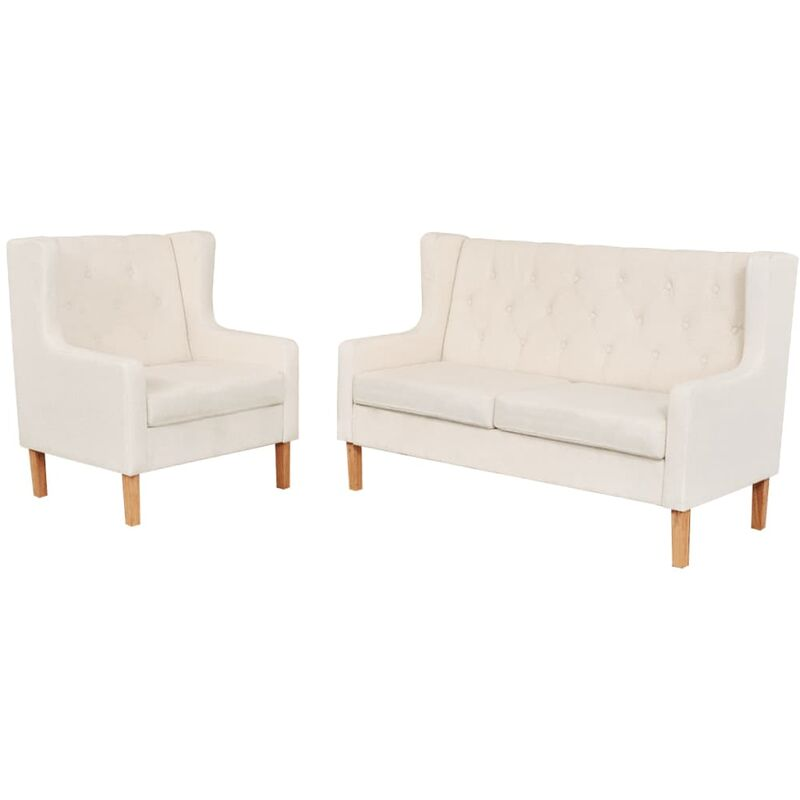 Sofa-Set Stoff Sessel 2-Sitzer-Sofa Cremeweiß 2-tlg. - VIDAXL