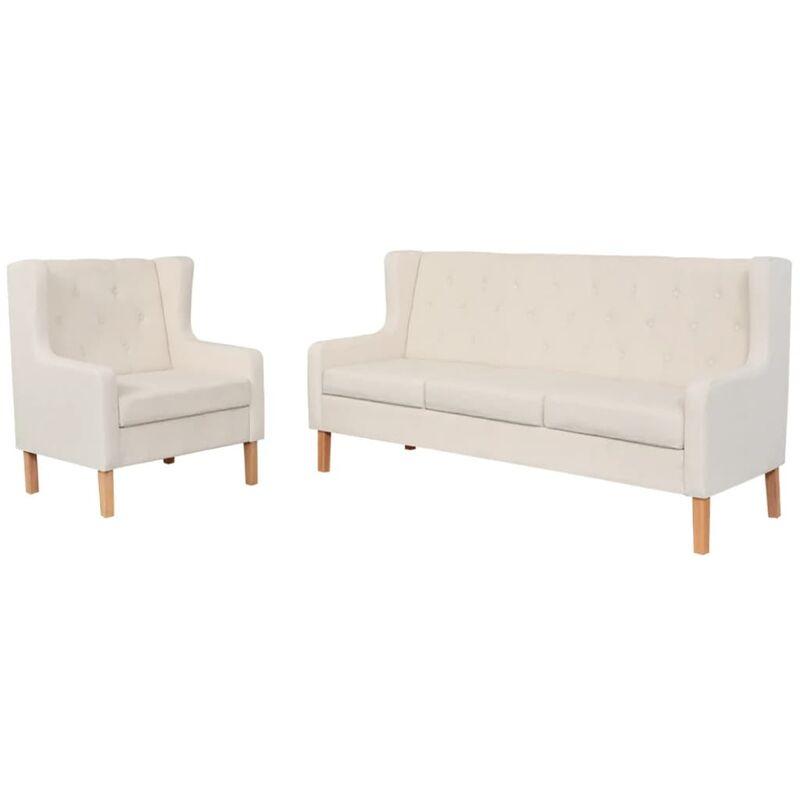 Sofa-Set Stoff Sessel 3-Sitzer-Sofa Cremeweiß 2-tlg. - VIDAXL