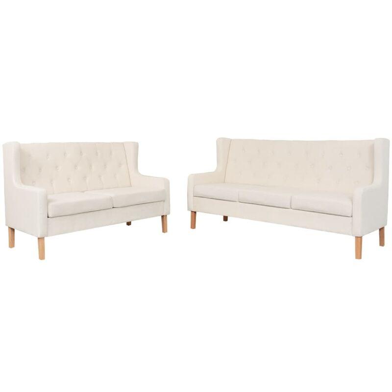Sofa-Set Stoff 2-Sitzer-Sofa 3-Sitzer-Sofa Cremeweiß 2-tlg. - VIDAXL