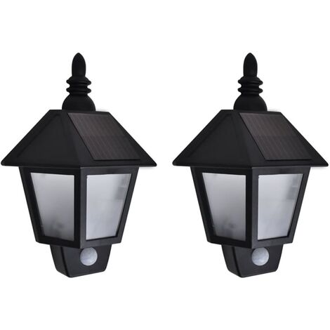 vidaXL Solar Wall Lamps 2 pcs with Motion Sensor Black - Black