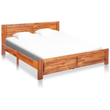vidaXL Solid Acacia Wood Bed Frame Bedroom Furniture Wooden Kid Adult Bedstead Daybed Sofabed Comfort Platform 140x200cm/180x200 cm