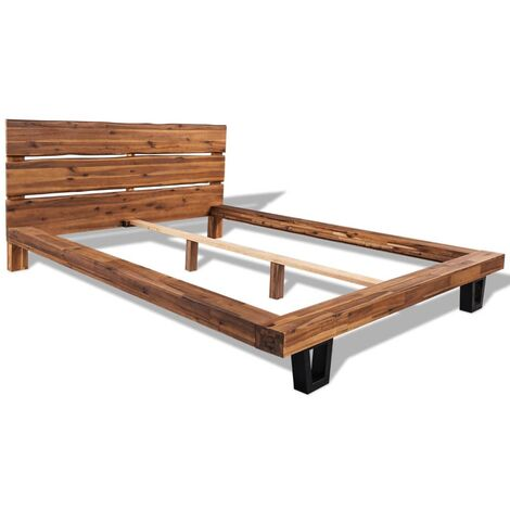 vidaXL Solid Acacia Wood Bed Frame Home Interior Bedroom Dorm Guest Room Furniture Beds Accessory Wooden Live Edge Double Bed Multi Sizes