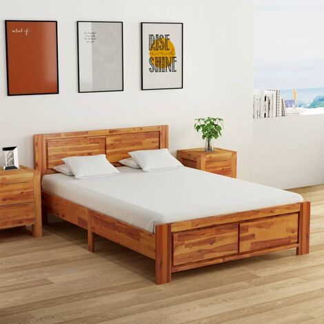 vidaXL Solid Acacia Wood Bed Frame with 2 Nightstands Wooden Bedroom Furniture Set Bed and Bedside Table Storage Nightstand 140/160cm