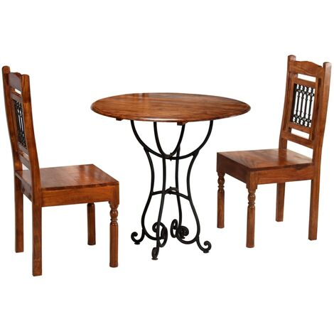 vidaXL Solid Acacia Wood Dining Table Set 3/5/7 Piece with Sheesham Finish Wooden Dinner Furniture Chairs Table Indoor Home Kitchen
