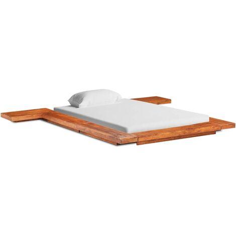 vidaXL Solid Acacia Wood Japanese Futon Bed Frame Wooden Bed Bedroom Accessory Osaka Floor Sleeping Bed Base Furniture Multi Sizes