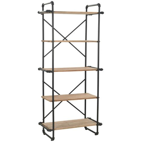 vidaXL Solid Firwood and Steel Bookcase Durable Wooden Home Living Room Office Standing Display Book Shelf Cabinet Furniture Multi Sizes