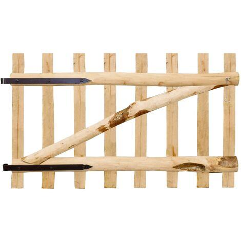 vidaXL Solid Hazel Wood Single Fence Gate Hardwearing Eco-Friendly Garden Backyard Patio Courtyard Wooden Fencing Barrier Multi Sizes