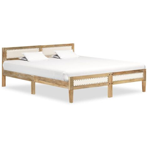 vidaXL Solid Mango Wood Bed Frame Bedroom Furniture Bed Accessory Wooden Double Person Bed Base Platform Bedstead for Adults Children Multi Sizes
