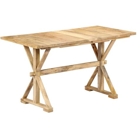 vidaXL Solid Mango Wood Dining Table with X-frame Leg Wooden Home Dinner Room Office Kitchen Furniture Trestle Stand Desk Multi Sizes