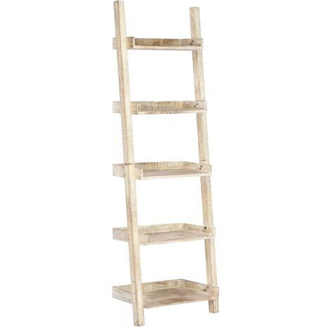 vidaXL Solid Mango Wood Ladder Shelf with 5 Shelves Living Room Home Standing Shelving Storage Bookcase Display Rack Unit Furniture White/Brown