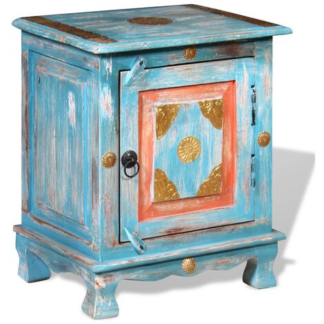 vidaXL Solid Mango Wood Nightstand Retro Home Décor Living Room Wooden Bedside Table Side Storage Cabinet Stand Furniture Multi Colours