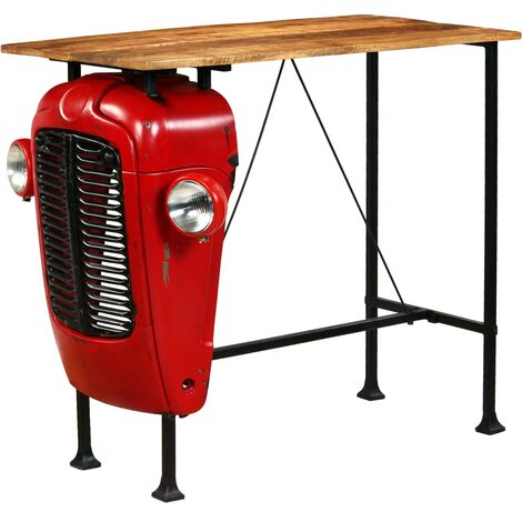 vidaXL Solid Mango Wood Tractor Bar Table Red Steel Home Kitchen Dining Room Farmhouse Furniture Industrial Rustic Design 60/120/150 cm