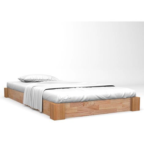 vidaXL Solid Oak Wood Bed Frame Classic Single Double Bedroom Home Furniture Base for Adults Teenagers Low Bed Accessory Wooden Multi Sizes