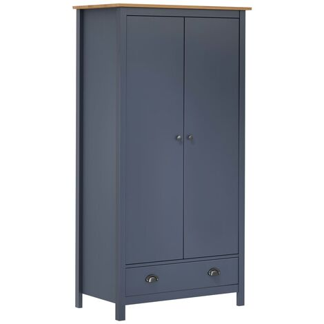 vidaXL Solid Pine Wood 2-Door Wardrobe Clothes Cabinet Bedroom Cabinet Furniture Closet Clothes Storage Cupboard Wooden Unit Multi Colours