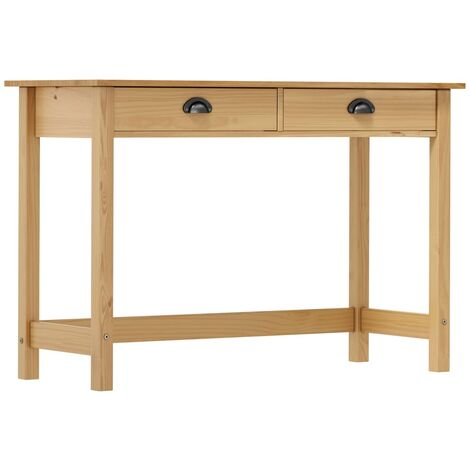 vidaXL Solid Pine Wood Console Table with 2 Drawers Wooden Accent Table Hall Cabinet Living Room End Table Makeup Desk Hallway Furniture Multi Colours