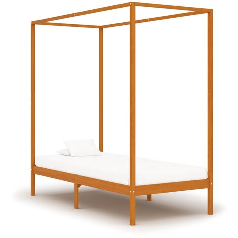 vidaXL Solid Pinewood Canopy Bed Frame Contemporary Modern Decorative Design Stable and Durable Single Beds Bedroom Furniture Multi Colours/Sizes
