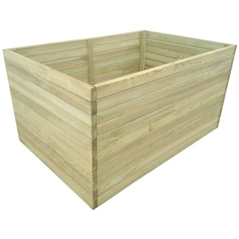 vidaXL Solid Pinewood Garden Planter Outdoor Patio Yard Wooden Pot Flower Plant Raised Bed Rot Resistant Green Impregnated Multi Sizes