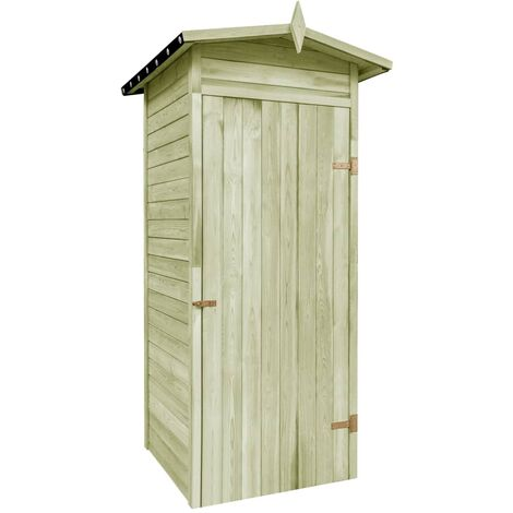 vidaXL Solid Pinewood Garden Storage Shed Patio Backyard Courtyard Log Timber House Wooden Tool Cabin Green Impregnated Multi Sizes
