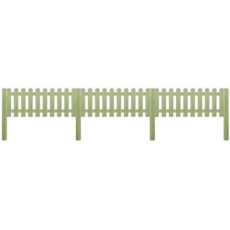 vidaXL Solid Pinewood Picket Fence Garden Patio Backyard Courtyard Fencing Palisade Barrier Panels Posts Green Impregnated Multi Sizes