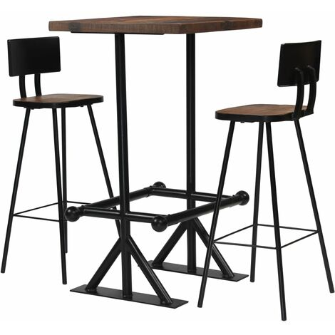 vidaXL Solid Reclaimed Wood Bar Set Steel Home Dining Room Kitchen Furniture Bar Table Chair Stool Industrial Design 3/5/7/9 Piece