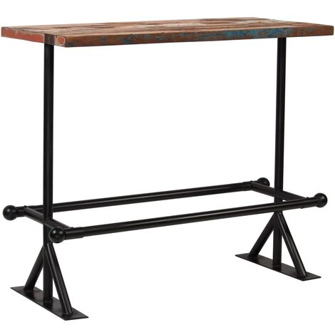 vidaXL Solid Reclaimed Wood Bar Table Multicolour Bar Dining Table Wooden Table Home Kitchen Dining Room Furniture Rustic Design Multi Sizes
