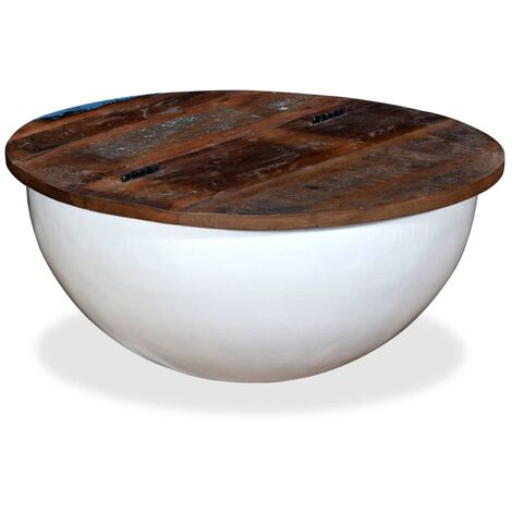 vidaXL Solid Reclaimed Wood Coffee Table Bowl Shape Storage Stand White/Black